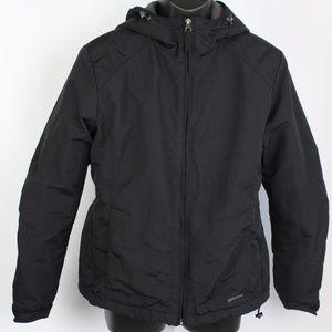 Eddie Bauer black hooded winter jacket fleece line